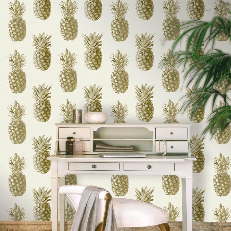 Grandeco Pineapple Cream/Gold Metallic Wallpaper - 135202