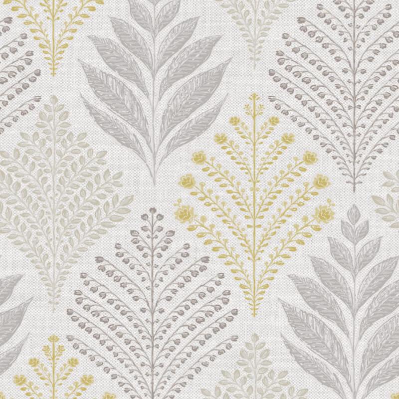 Grandeco Rowan Leaf Grey/Yellow Glitter Wallpaper - A23304