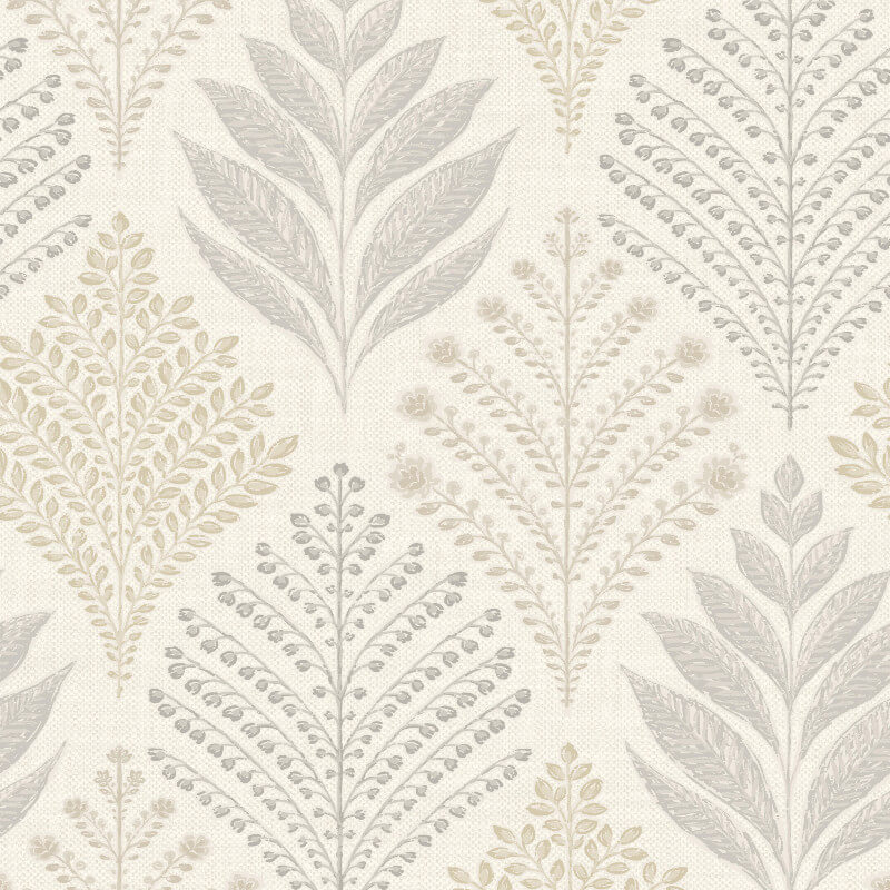 Grandeco Rowan Leaf Neutral Glitter Wallpaper - A23301