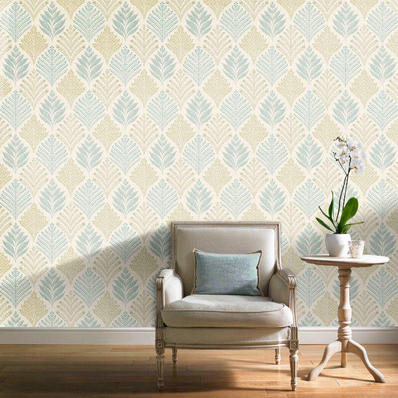 Grandeco Rowan Leaf Teal Glitter Wallpaper - A23303