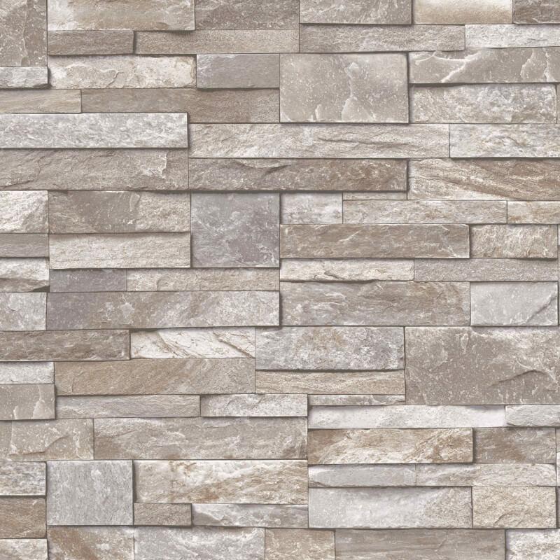 Grandeco Stone Brick Effect Wallpaper In Brown A17204