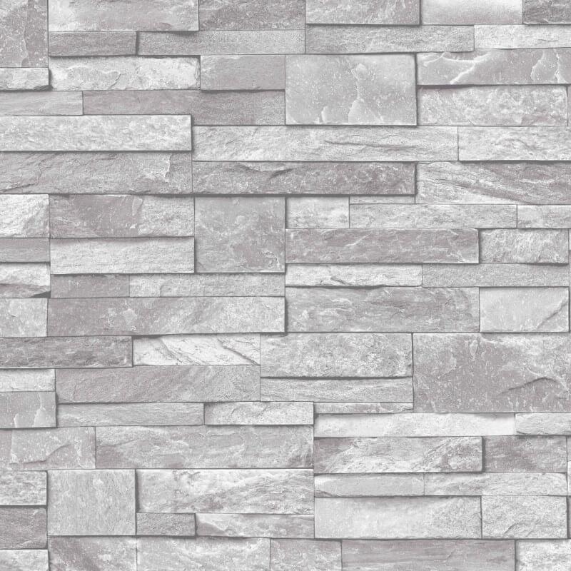 Grandeco Stone Brick Effect Wallpaper In Light Grey A17202