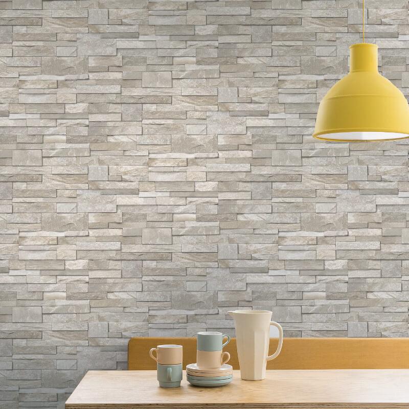 Grandeco Stone Brick Effect Wallpaper in Sand Stone - A17203