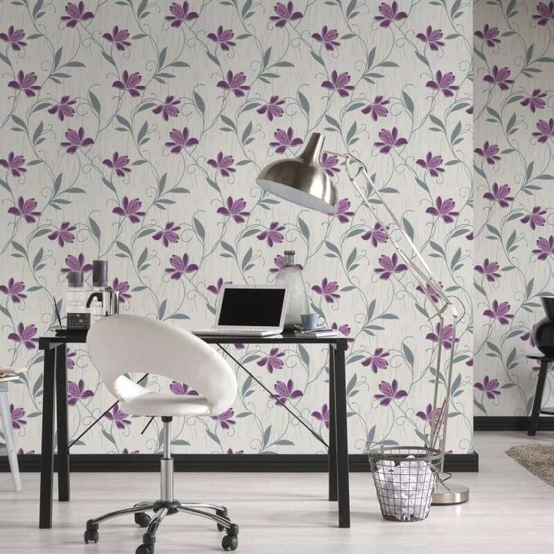 AS Creation Lotus Floral Purple/Grey Glitter Wallpaper - 3062-34