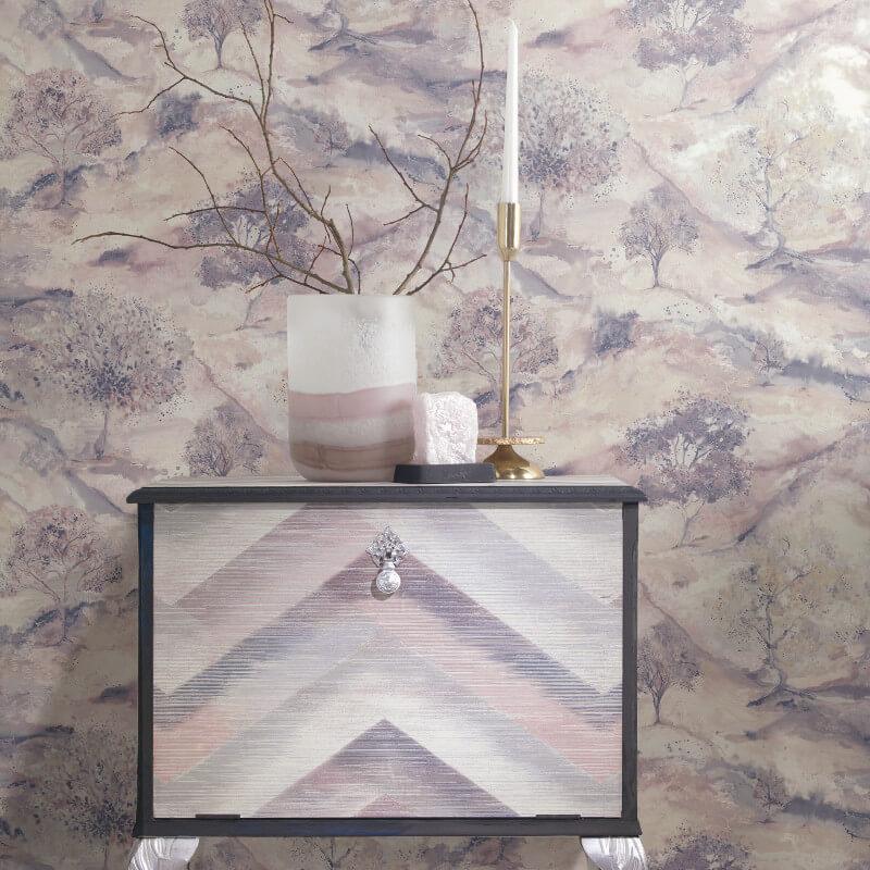 Holden Decor Acadia Tree Dusty Pink/Navy Metallic Wallpaper - 35733