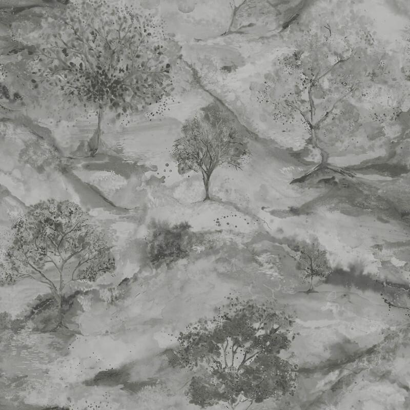 Holden Decor Acadia Tree Grey/Silver Metallic Wallpaper - 35730