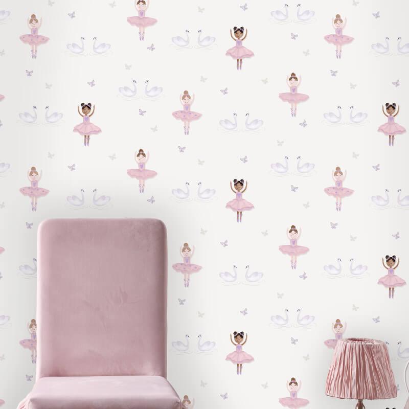 Holden Decor Ballerina Dancer Cream/Pink Glitter Wallpaper