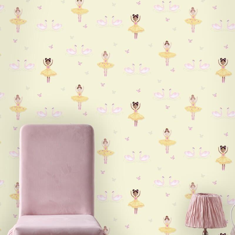 Holden Decor Ballerina Dancer Yellow Glitter Wallpaper - 12462