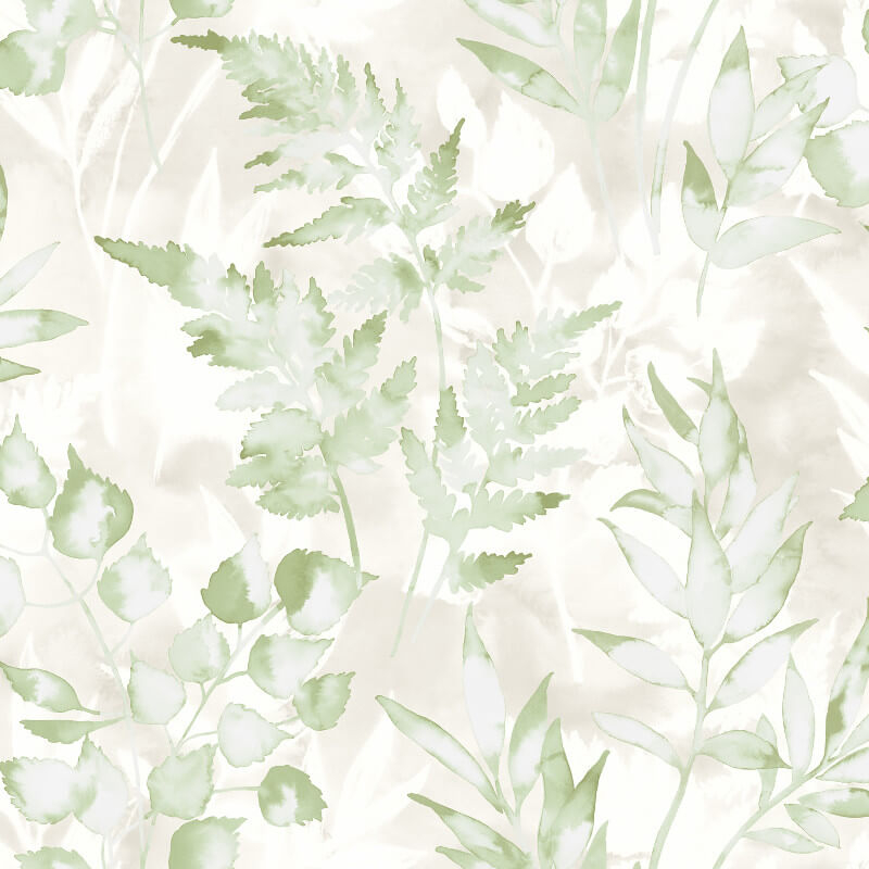 Holden Decor Bracken Leaf Green/Gilver Metallic Wallpaper - 90131