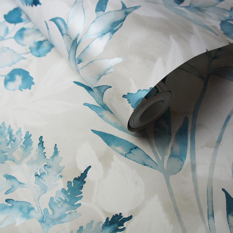 Holden Decor Bracken Leaf Teal Metallic Wallpaper - 90132