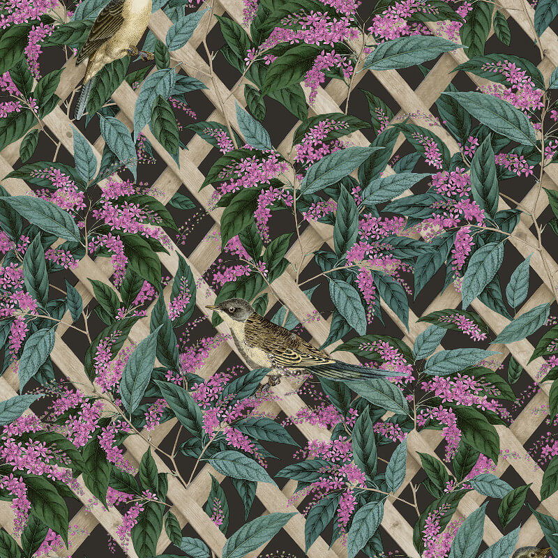 Holden Decor Cassidy Charcoal/Pink Wallpaper - 90171