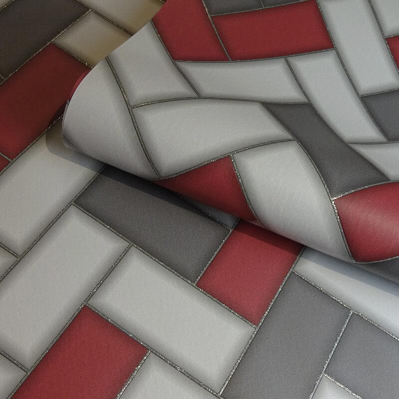Holden Decor Chevron Geo Tile Red Glitter Wallpaper - 89303