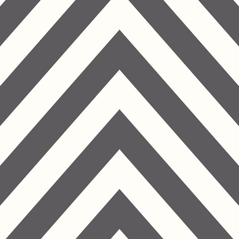 Holden Decor Chevron Striped Pattern Black/White Wallpaper - 12574