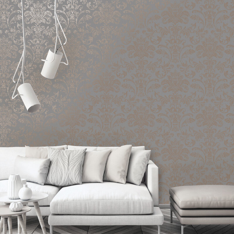 Holden Decor Damask Grey/Rose Gold Metallic Wallpaper - 12712
