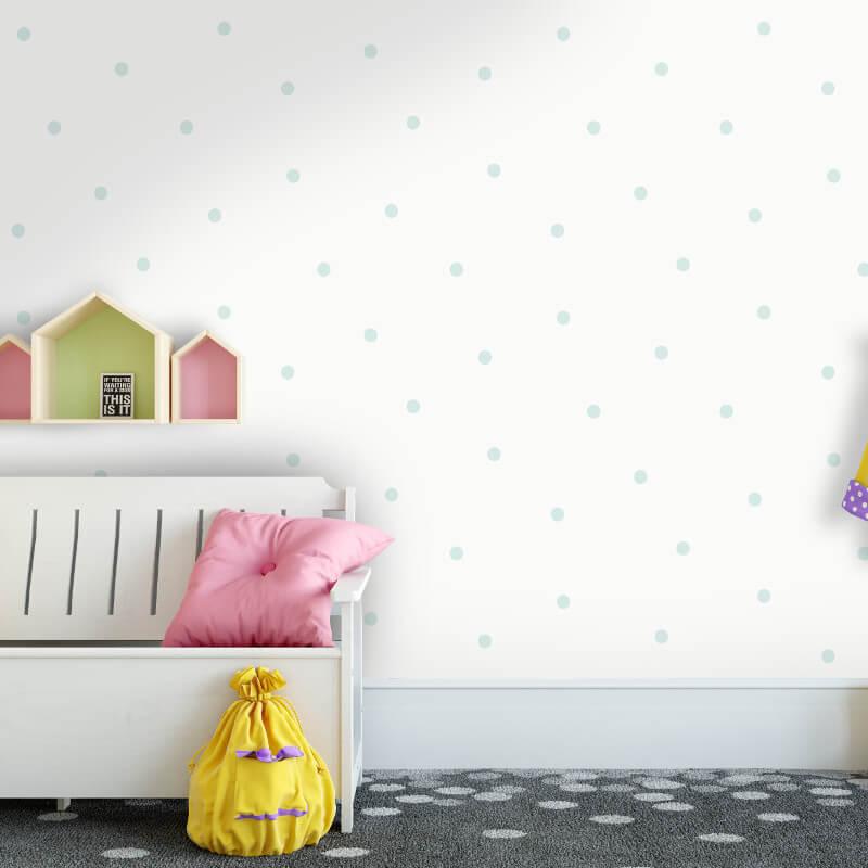 Holden Decor Dotty Spots Pattern Soft Teal Glitter Wallpaper - 12602