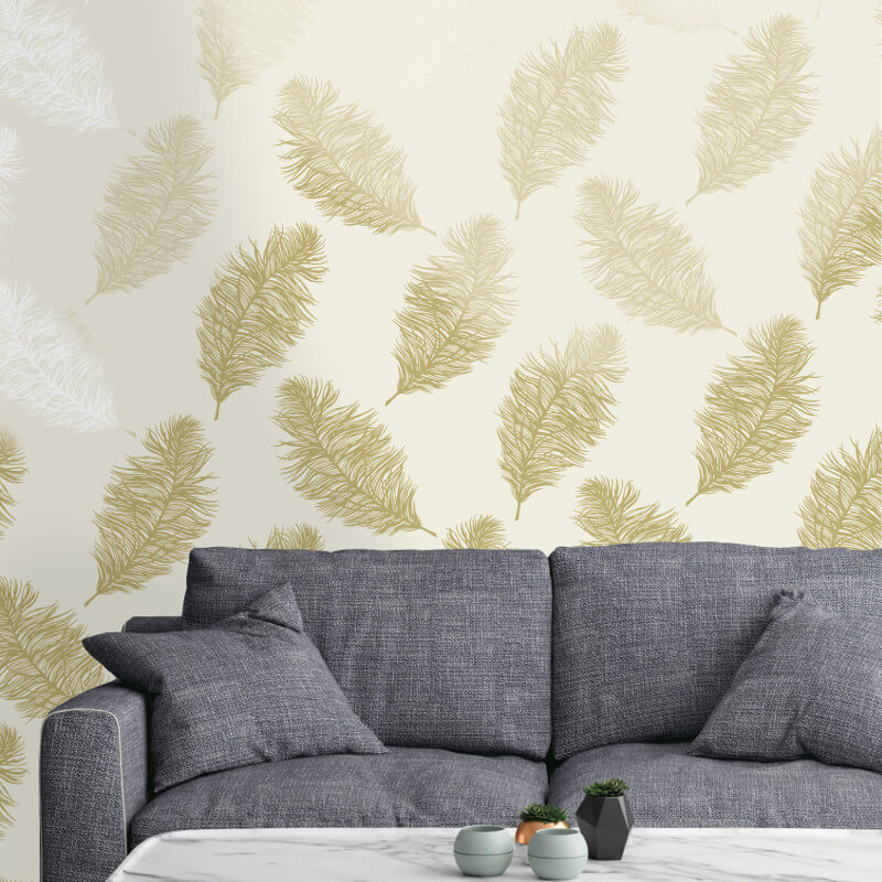 Holden Decor Fawning Feather Cream/Gold Metallic Wallpaper - 12625