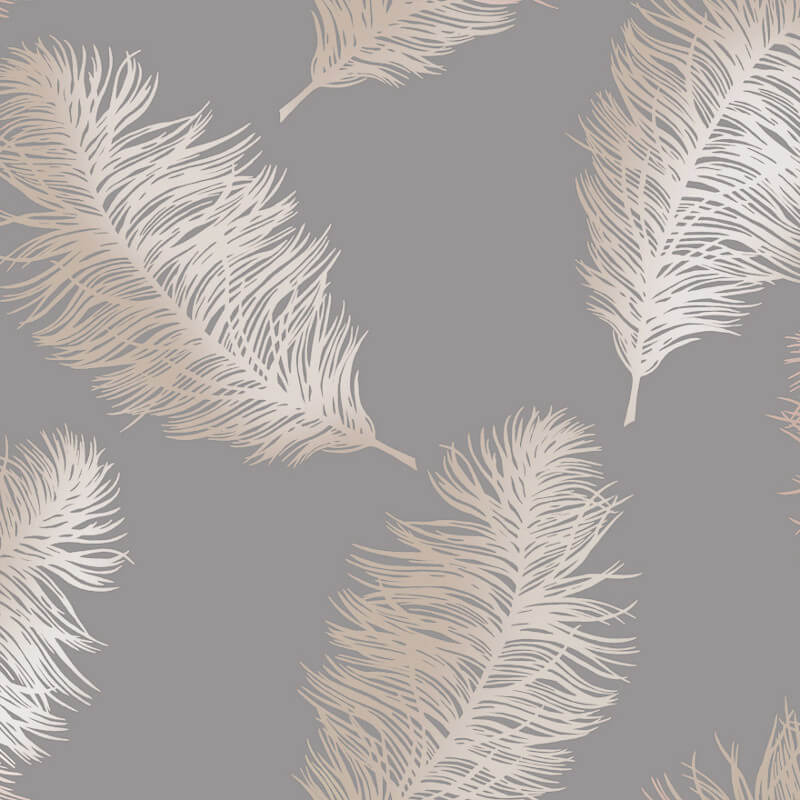 Holden Decor Fawning Feather Grey/Rose Gold Metallic Wallpaper - 12629