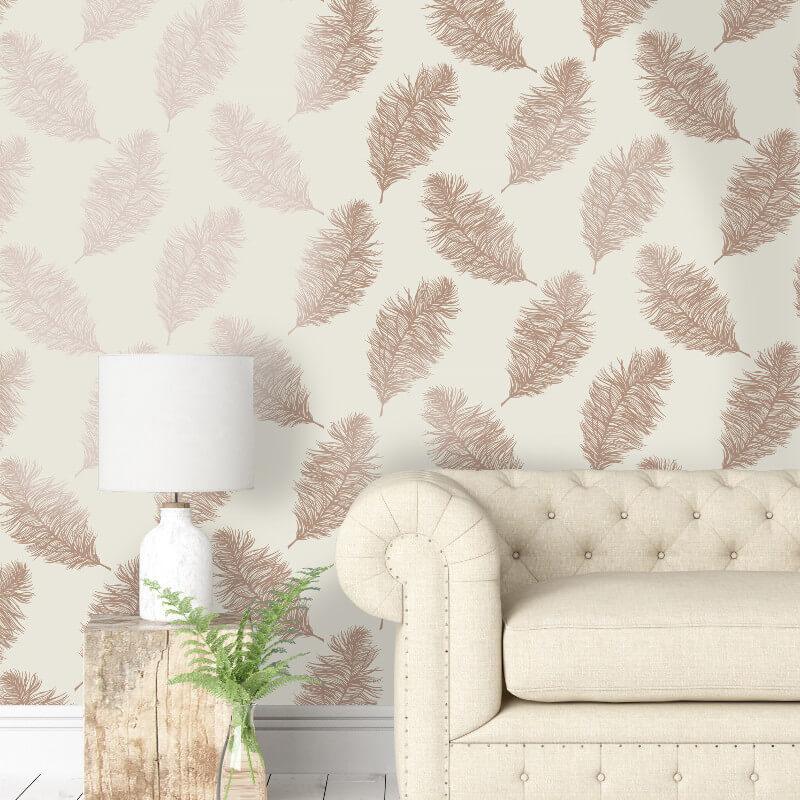 Holden Decor Fawning Feather Cream/Copper Metallic Wallpaper - 12627