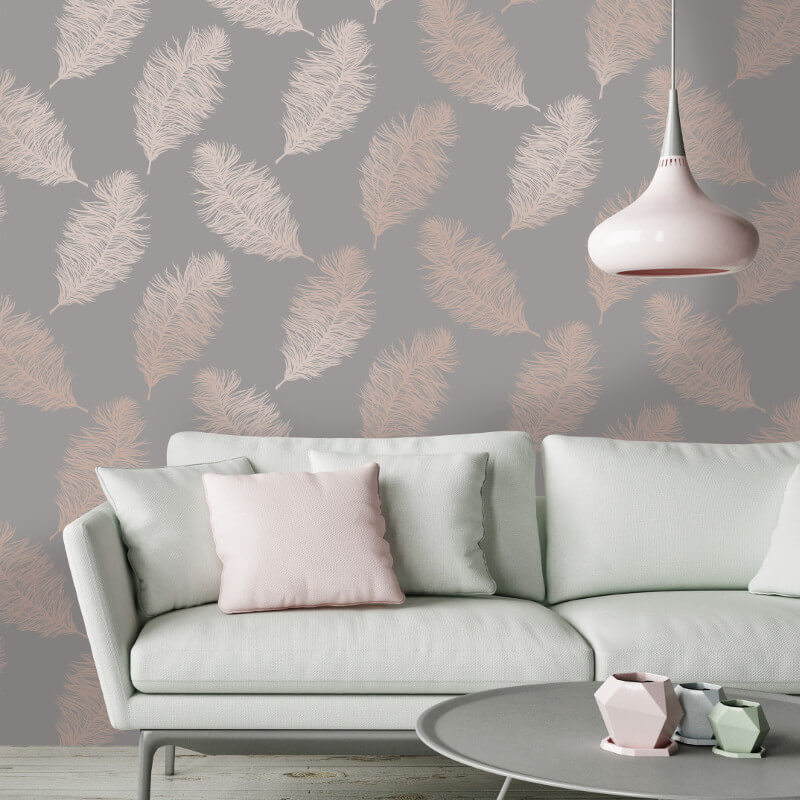Holden decor fawning feather grey rose gold metallic for Grey bedroom wallpaper