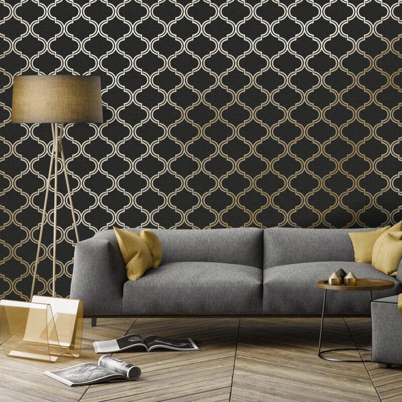 Holden Decor Geometric Black/Gold Metallic Wallpaper - 12751