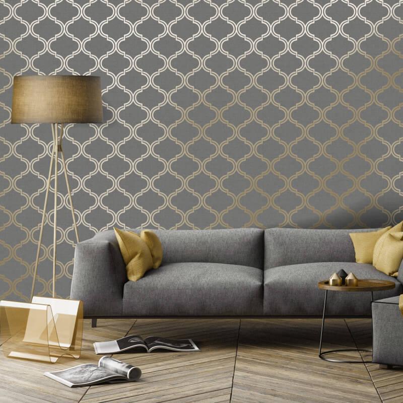 Holden Decor Geometric Charcoal/Gold Metallic Wallpaper - 12751