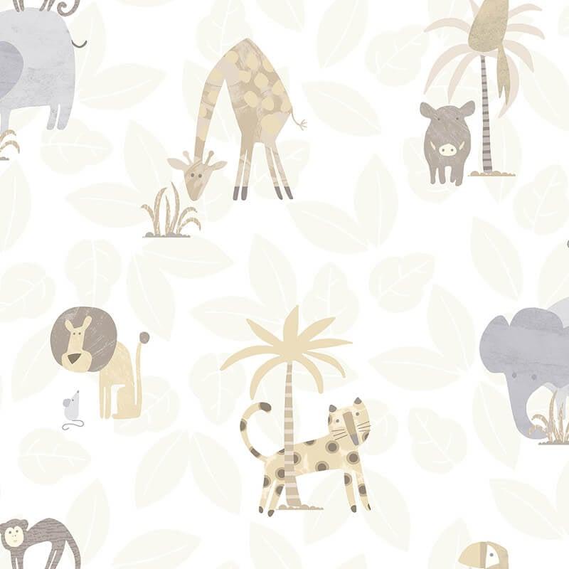 Holden Decor Jungle Animal Friends Neutral Wallpaper - 12540