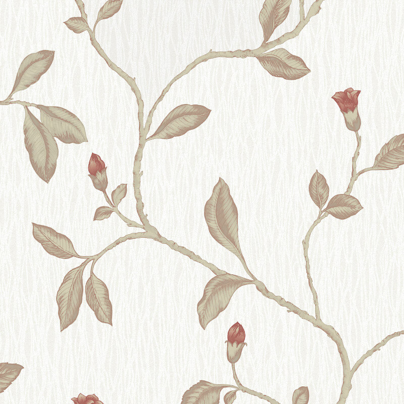 Holden Decor Lia Floral Twig Red/Cotton Metallic Wallpaper - 35173