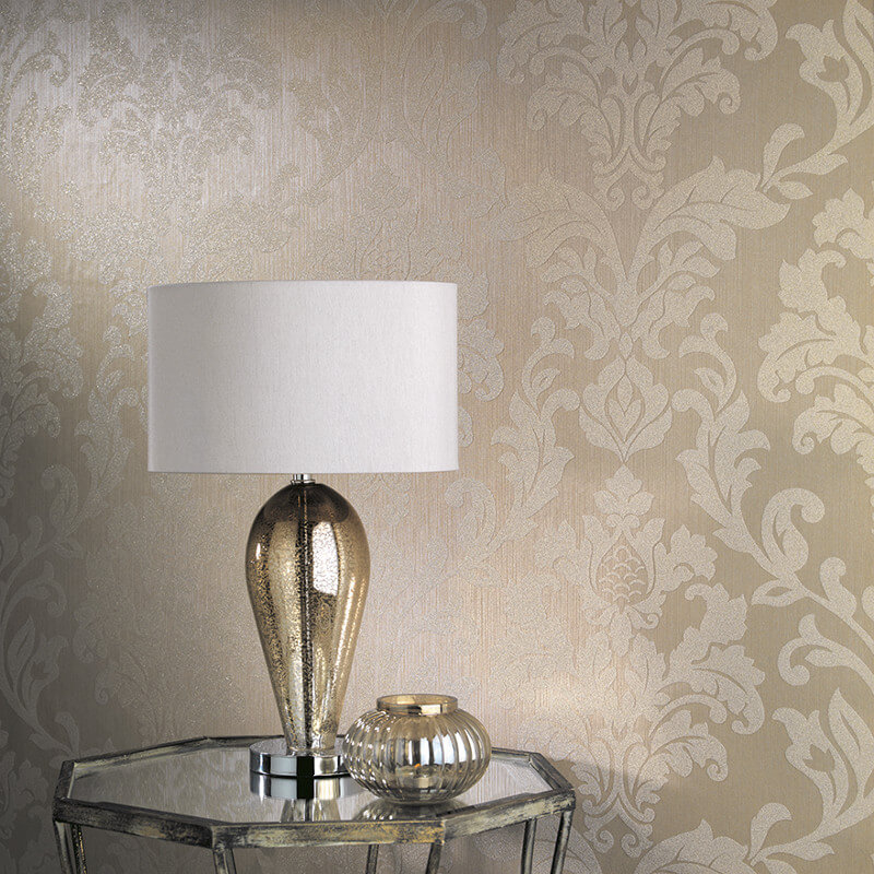 Holden Decor Newbury Damask Gold Glass Beaded Wallpaper - 99330