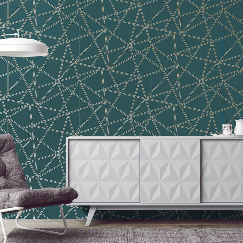 Holden Decor Paladium Geo Teal Metallic Wallpaper - 90110
