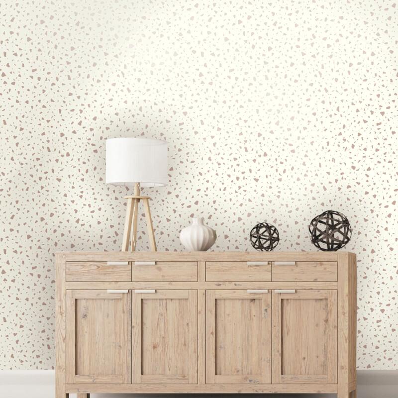 Holden Decor Terrazo Cream/Rose Gold Metallic Wallpaper - 12731