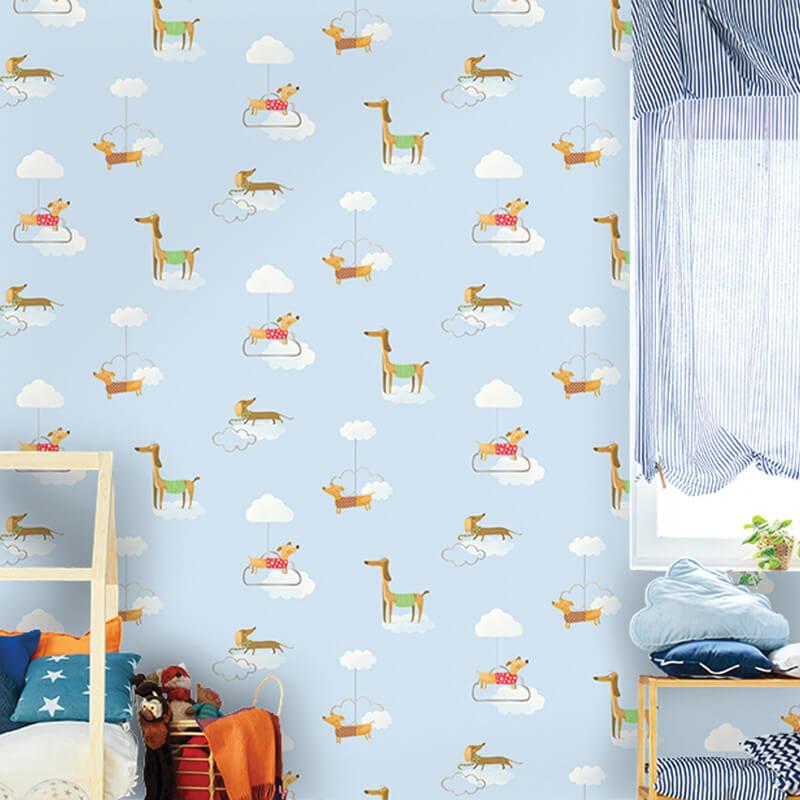 Holden Decor Walkies Dog Pattern Blue/Multi Wallpaper - 12550