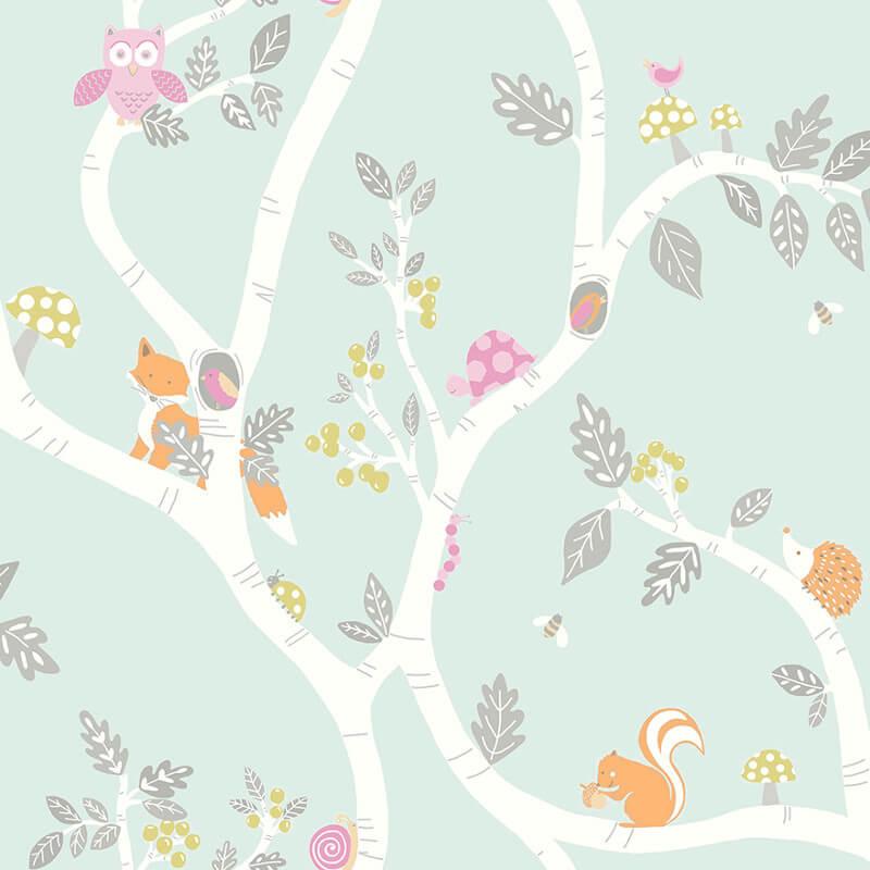 Holden Decor Woodland Adventure Soft Teal Glitter Wallpaper - 12490