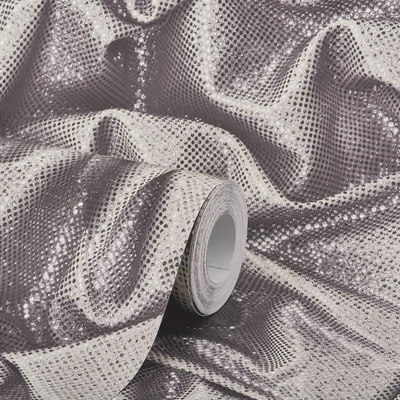 Muriva Faux Crushed Satin Silver Glitter Wallpaper - L14209