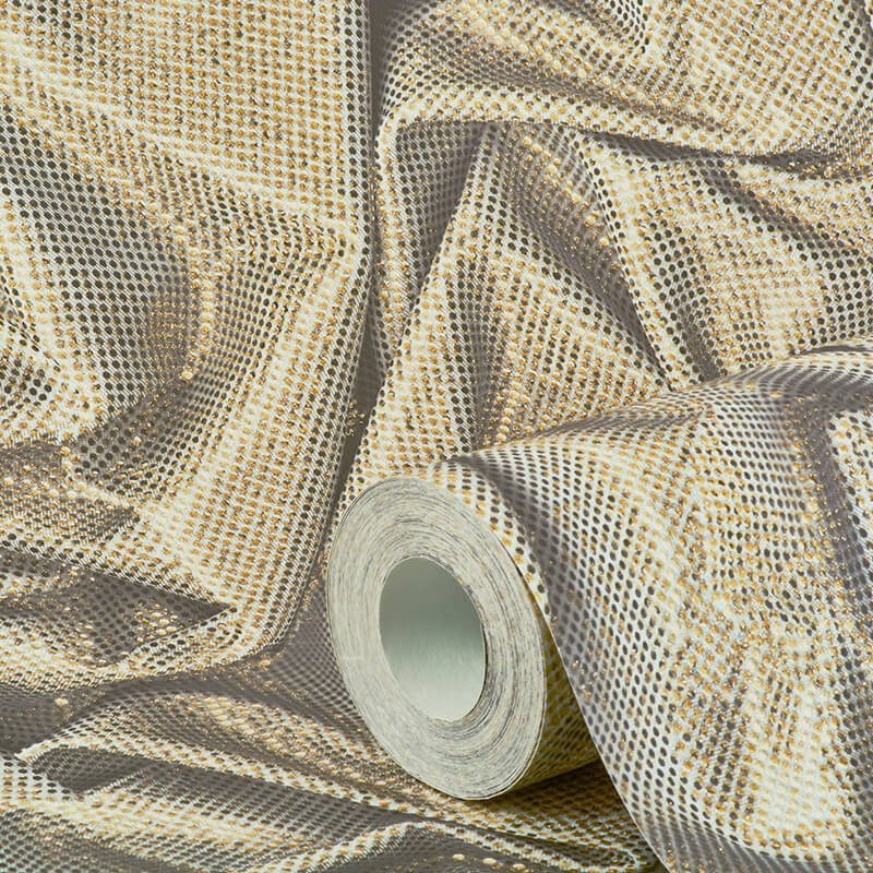 Muriva Faux Crushed Satin Soft Gold Glitter Wallpaper - L14212