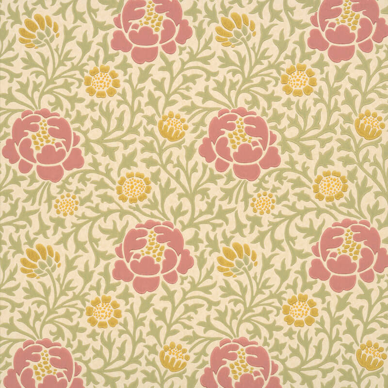 Little Greene Lansdowne Walk Wallpaper in Rose