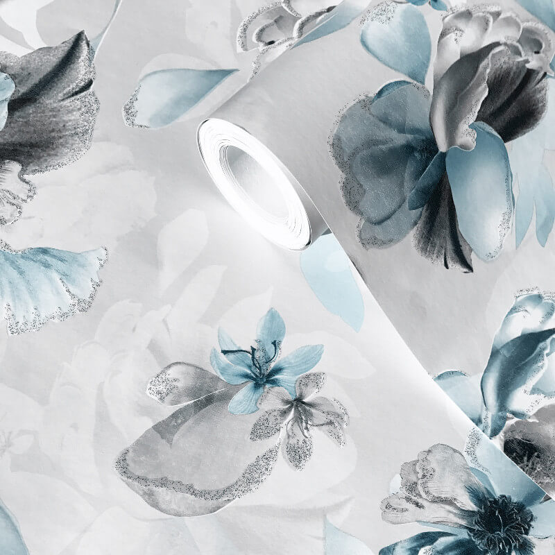 Lipsy London Soft Petals Blue Glitter Wallpaper - 144022