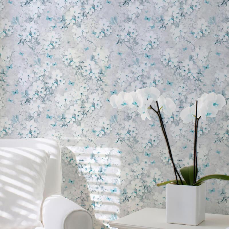 Lipsy London Spring Blossom Teal Glitter Wallpaper - 144013