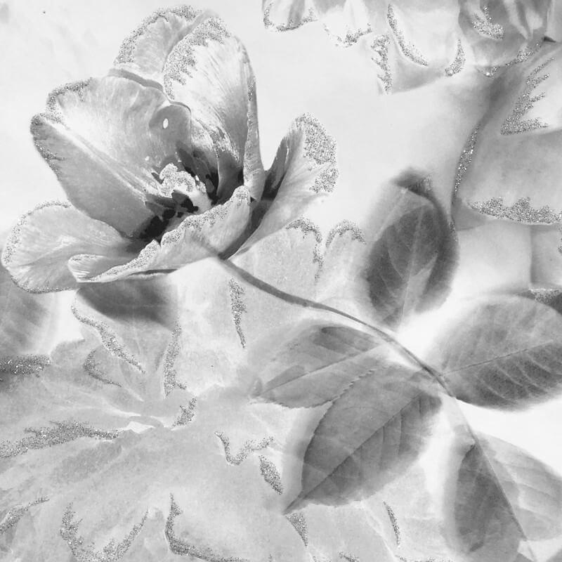 Lipsy Translucent Bloom Grey Glitter Wallpaper - 144030