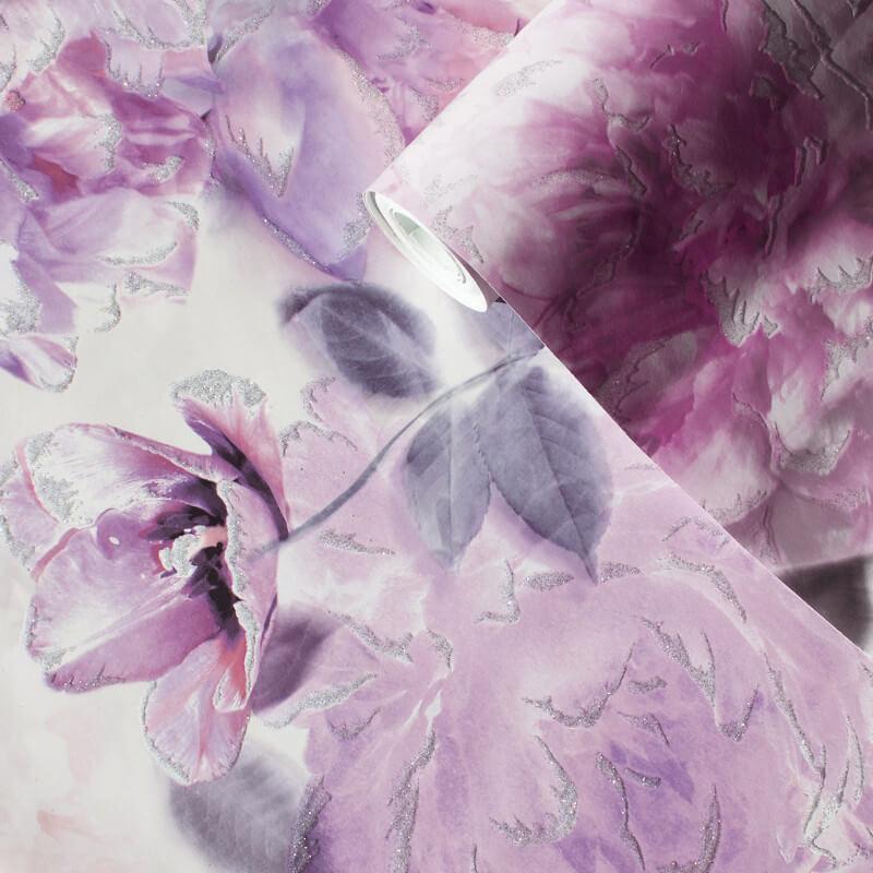 Lipsy Translucent Bloom Lilac Glitter Wallpaper - 144032