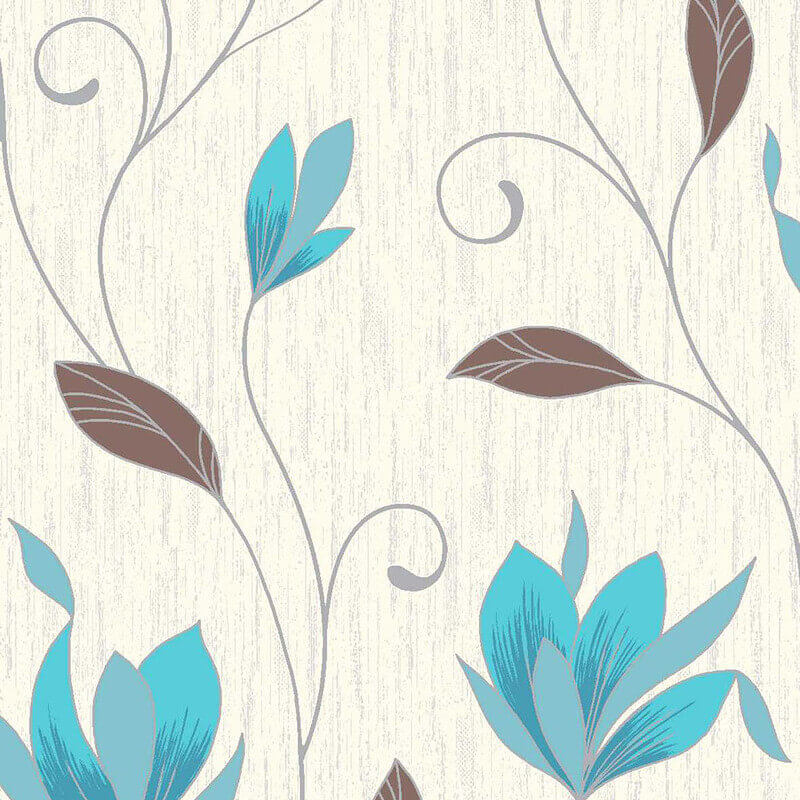 Vymura Synergy Glitter Floral Wallpaper in Teal and Silver - M0779