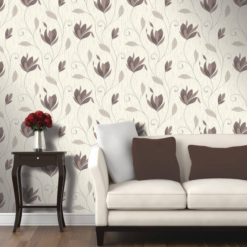 Vymura Synergy Glitter Floral Wallpaper in Chocolate Brown and Silver - M0780
