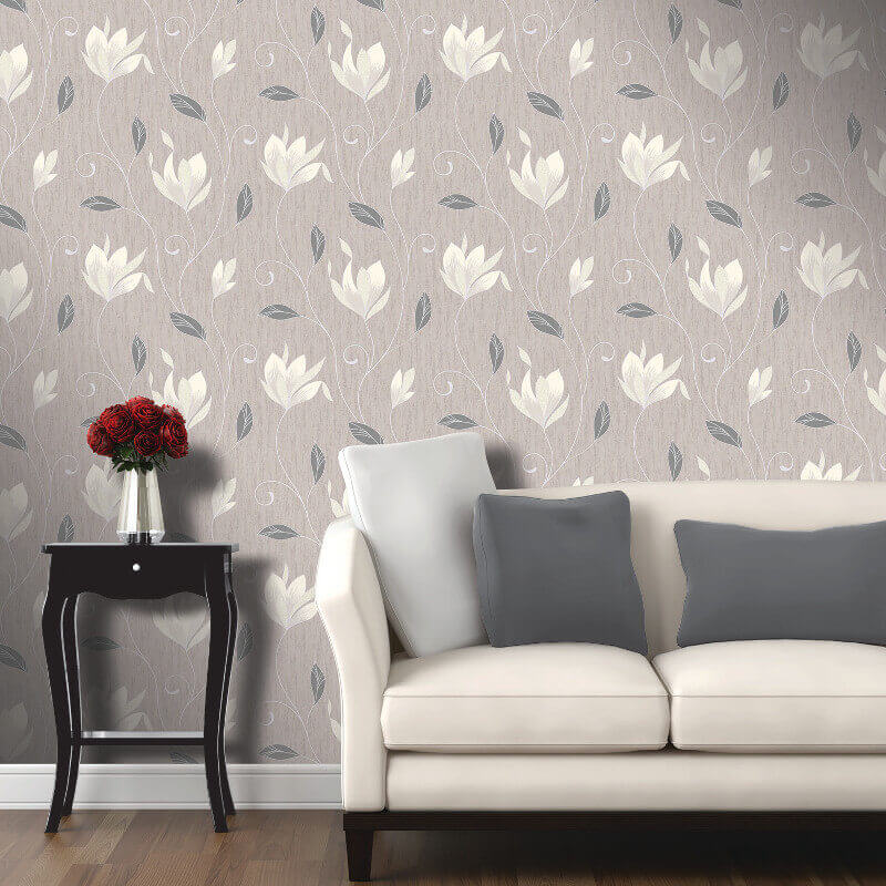 Vymura Synergy Glitter Floral Wallpaper in Taupe and Silver - M0782