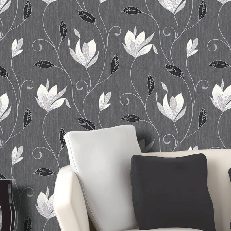 Vymura Synergy Glitter Floral Wallpaper in Ebony Black and Silver - M0783