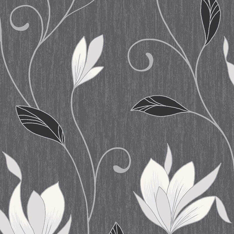 Vymura Synergy Floral Ebony Black/Silver Glitter Wallpaper - M0783