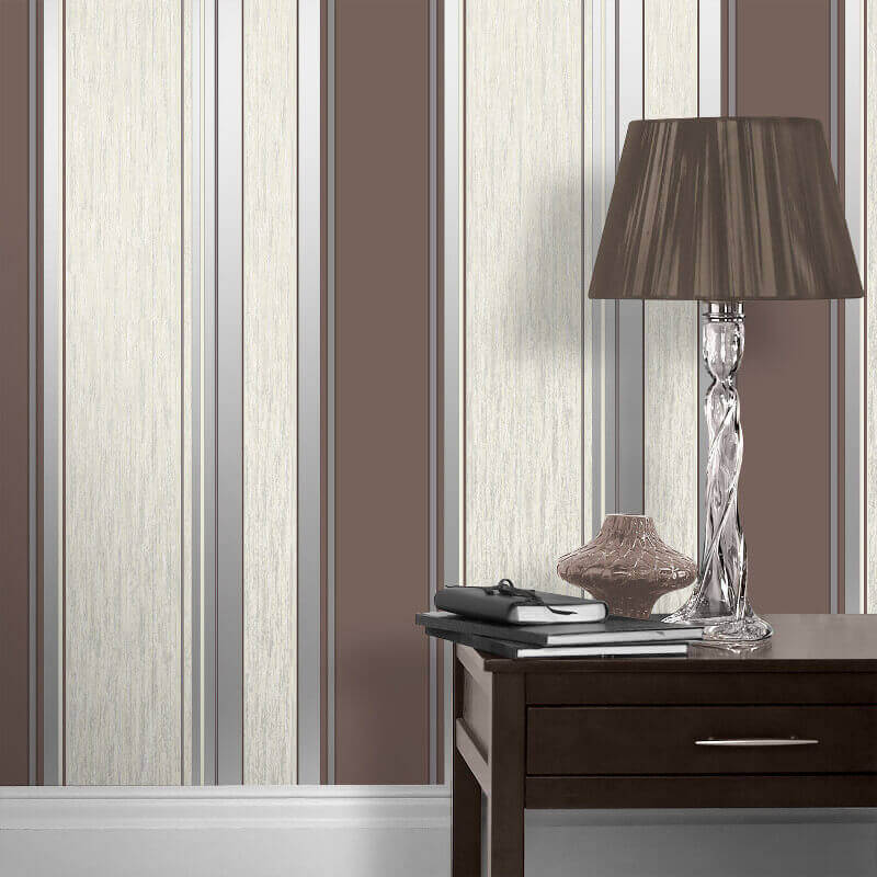 Vymura Synergy Glitter Stripe Wallpaper in Chocolate Brown and Silver - M0802