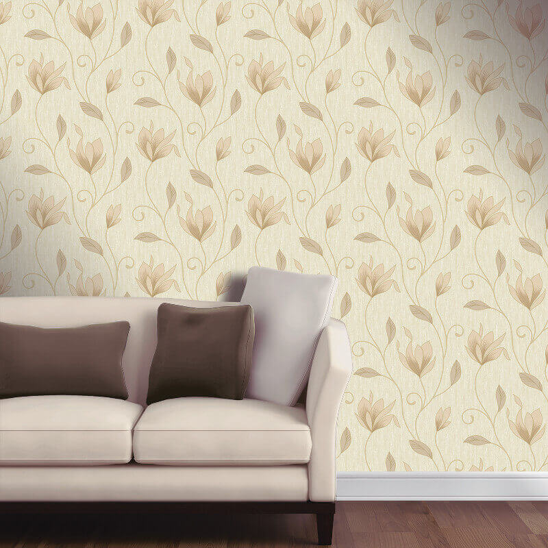 Vymura Synergy Glitter Floral Wallpaper in Soft Gold - M0868