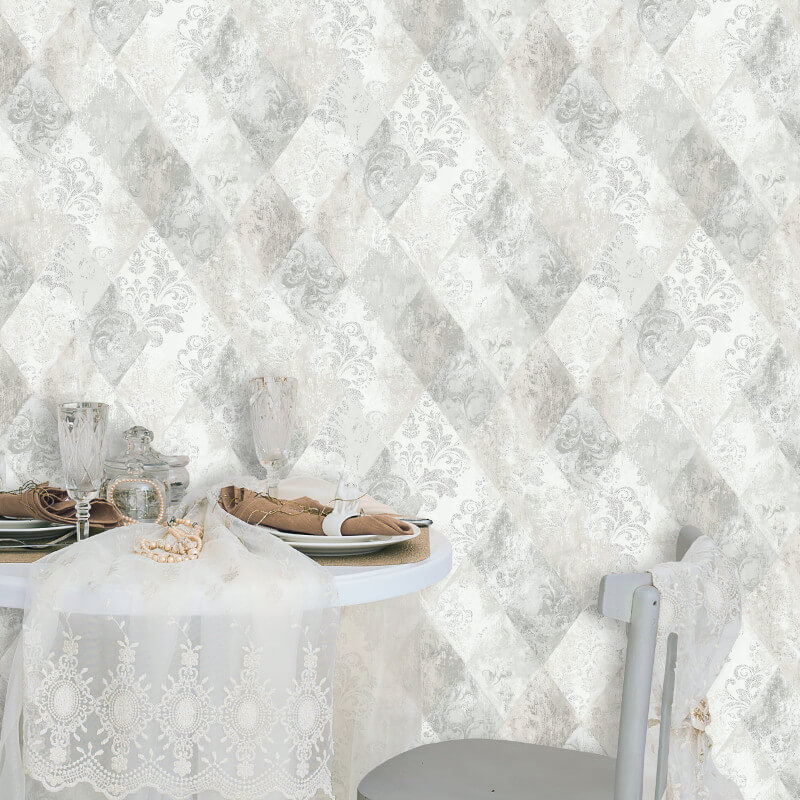 Muriva Ambra Damask Diamond Grey Metallic Wallpaper - A26309