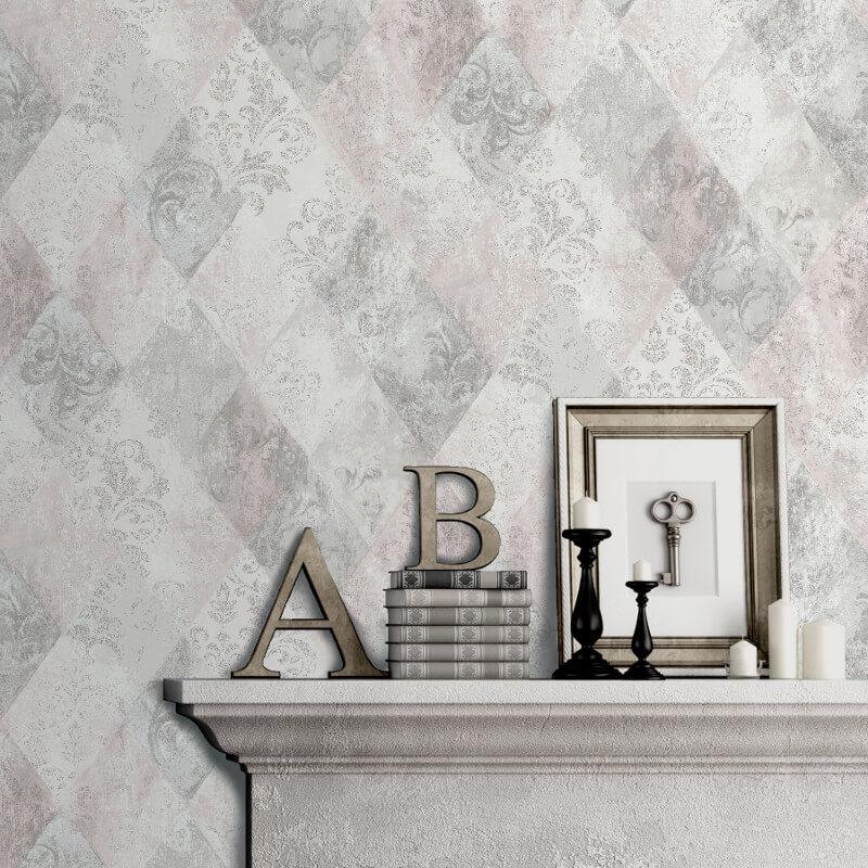 Muriva Ambra Damask Diamond Pink Metallic Wallpaper - A26303