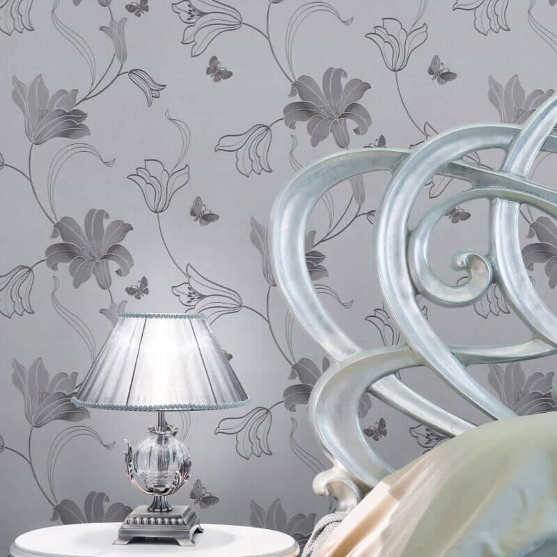 Muriva Amelia Floral Silver Metallic Wallpaper - 701414