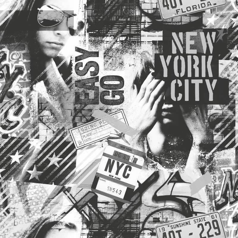 Muriva American Graffiti Black/White Wallpaper - L06109